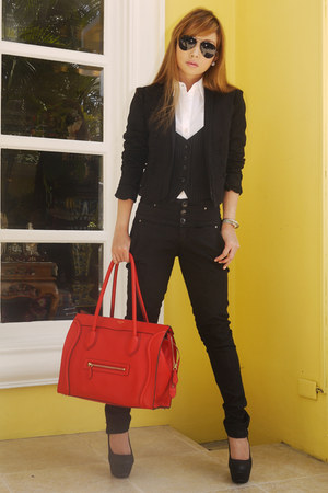 black Zara pants - red Celine bag - black Prada glasses