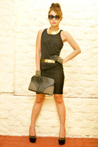 black lbd Mango dress - black Mango bag - black Mango sunglasses