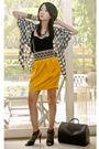 White-tango-blouse-black-mango-top-yellow-random-skirt-black-glitterati-be