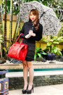 Black-zara-coat-red-celine-bag-dark-brown-abby-hocson-accessories