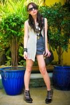 heather gray British India vest - charcoal gray Topshop shorts - silver Cuteture