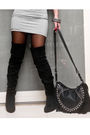 Gray-dress-black-online-boots-black-chick-flick-purse-silver-cuteture-neck