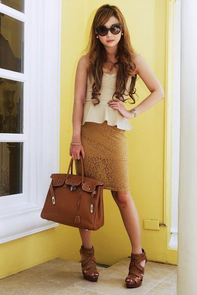 camel lace Forever 21 skirt - tan peplum Undernourished Manila top