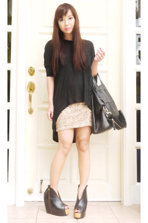 tan H&amp;M skirt - black nightingale Givenchy bag