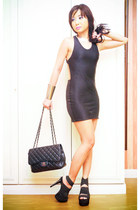black backless lbd Glitterati dress - black 255 Chanel bag