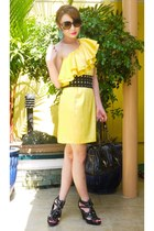 yellow H&M dress - black Fendi bag - turquoise blue chandelier Forever 21 earrin