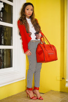 red Celine bag - ruby red Mango blazer - black Topshop pants - red Zara heels
