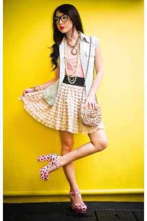 pink basic tanktop Topshop top - gold Miu Miu shoes - pink rosette Topshop bag