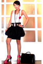 black Luca skirt - white Mango top - pink Sinta shoes - black Glitterati belt -