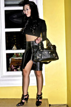 black Zara sweater - black balenciaga bag - black Zara skirt