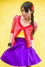 Red-mango-cardigan-yellow-topshop-top-purple-glitterati-skirt-red-louis-vu