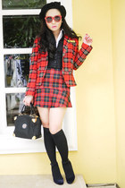 black Gravity shoes - red Zara blazer - black vintage bag - black H&M vest