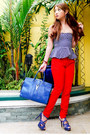 Blue-ysl-bag-red-zara-pants-navy-peplum-glitterati-top