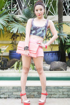 salmon GOLD COUTURE bag - bubble gum Zara shorts - salmon Zara heels