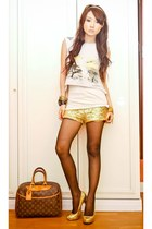 gold H&M shorts - burnt orange deuville Louis Vuitton bag
