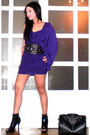 Purple-tyler-dress-black-glitterati-belt-black-online-shoes-black-louis-vu
