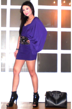 black Glitterati belt - black shoeboots online shoes - purple Tyler dress