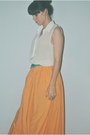 Orange-maxi-skirt-zara-skirt-white-sheer-top