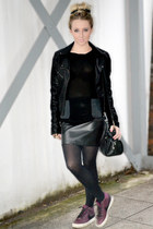 black leather warehouse jacket - black sheer warehouse shirt