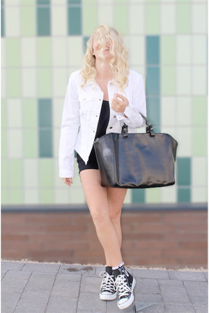 black denim shorts chicnova shorts - white denim jacket warehouse jacket