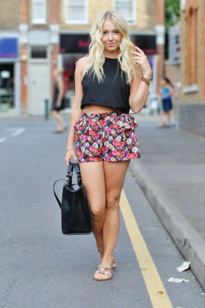 black shopper Zara bag - hot pink peplum shorts other shorts