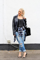 blue boyfriend asos jeans - black biker leather French Connection jacket