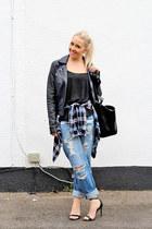blue boyfriend asos jeans - black biker leather French Connection jacket