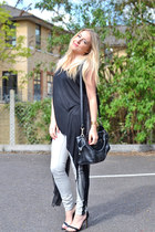 black asos top - periwinkle warehouse jeans - black Zara heels