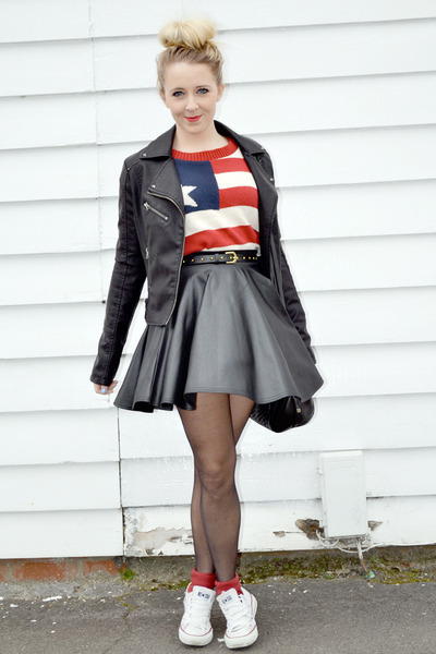 black leather prodigy red skirt - black leather warehouse jacket