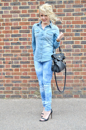 blue denim shirt H&amp;M shirt - blue tie dye jeans so in fashion jeans