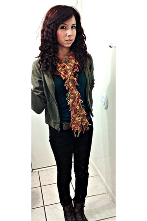 carrot orange homemade scarf - dark brown Deeibeles boots - black size 3 jeans