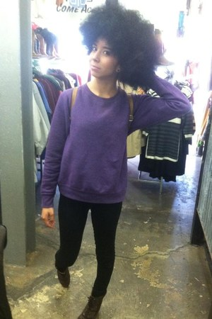 dark brown boots - purple sweater - black leggings