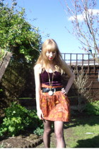 vintage skirt - new look dress - vintage necklace