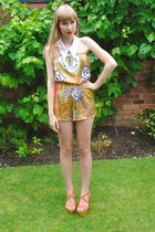 collar DIY accessories - Topshop wedges - silk romper