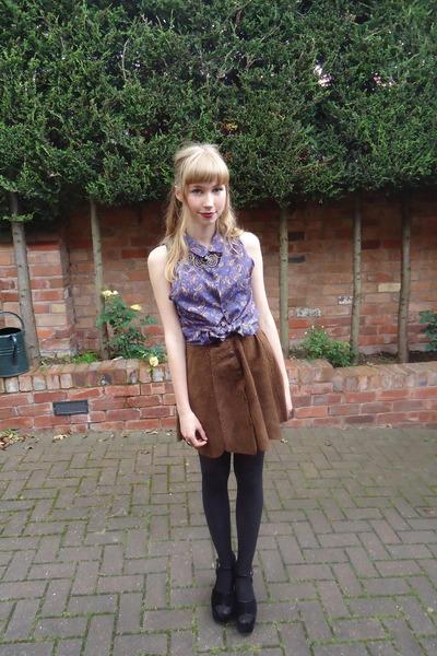 silk paisley vintage blouse - vintage skirt - velvet Office heels