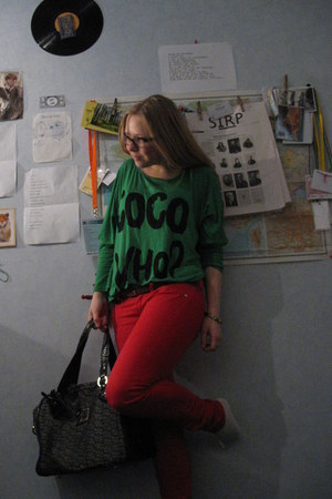red Mango jeans - dark green unknown brand shirt - black Paris Hilton bag