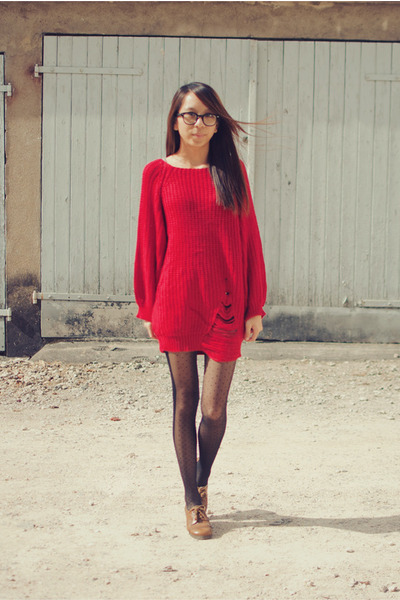 red wool romwe jumper