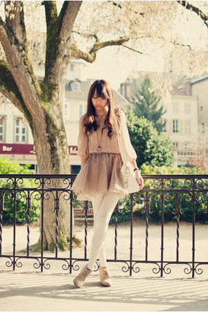 neutral chinese local store haha top - beige Newlook wedges