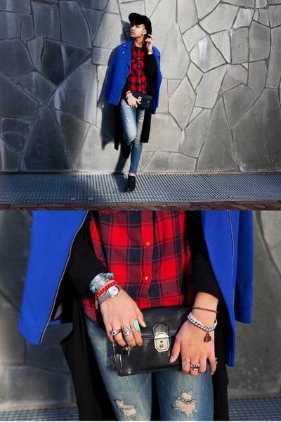 blue Primark jeans - blue Primark jacket - blue tartan Primark shirt