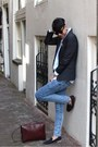 Blue-jeans-river-island-jeans-black-topman-blazer-blue-zipper-shirt
