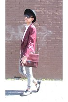 burgundy blazer - black and white shoes - grey jeans - suede strap hat