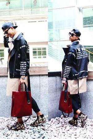 black Primark jeans - beige shoes - black Ebay hat - black jacket