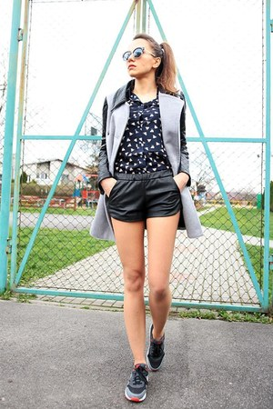 heather gray OASAP coat - navy patterned OASAP shirt - black OASAP sunglasses