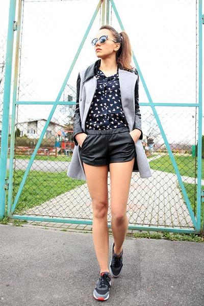 heather gray OASAP coat - navy patterned OASAP shirt - black OASAP sunglasses