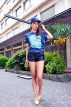 navy snapback new era hat - black Zara shorts - navy Carhartt WIP t-shirt