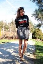 black Stussy sweatshirt - brown leopard print Vans sneakers