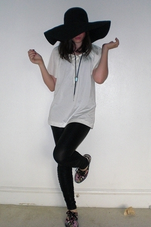 hm hat - vintage blouse - Forever21 leggings - Urban Outfitters shoes - Grandpa