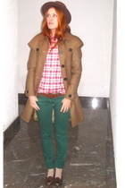 brown Pili & MIli coat - pink Pili & MIli shirt - brown H&M belt - green Zara je
