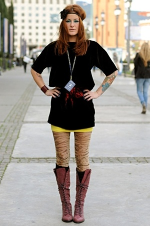 purple Zara boots - yellow tube H&M dress - black velvet H&M dress