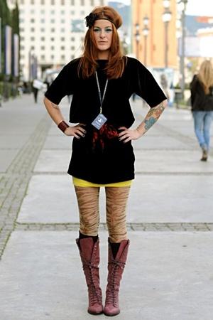 purple Zara boots - yellow tube H&M dress - black velvet H&M dress